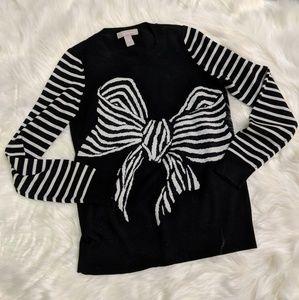 Banana Republic bow black/white stripe sweater